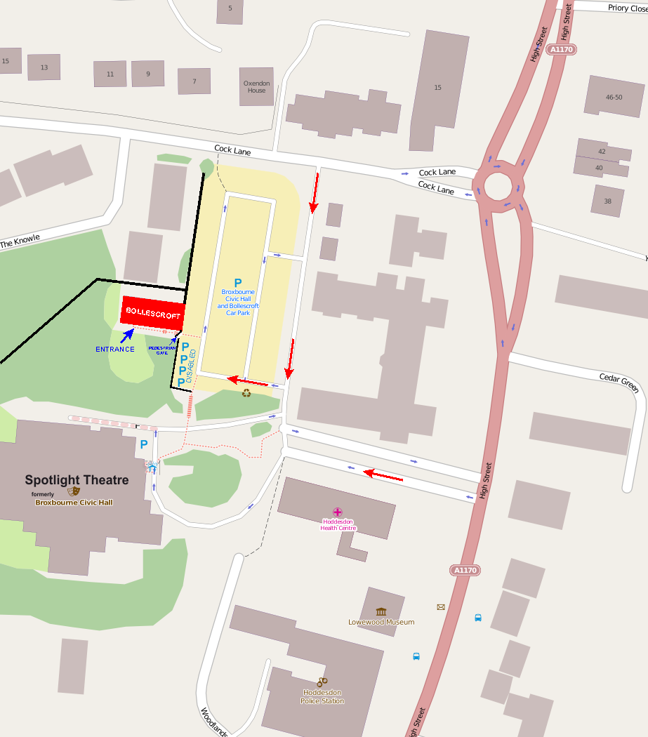 Map of Bollescroft and Broxbourne Civic Hall